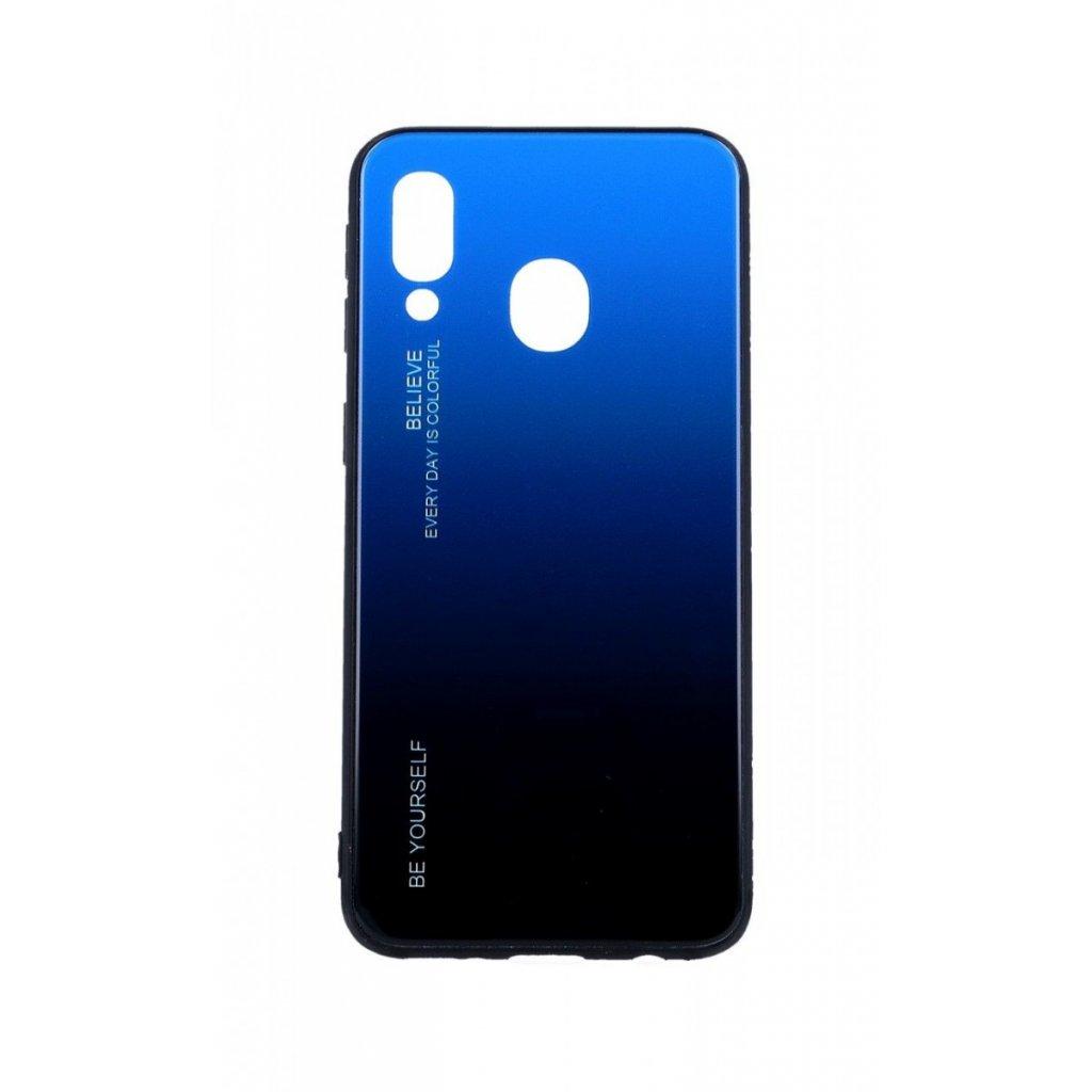 Zadný pevný kryt LUXURY na Samsung A40 dúhový modrý