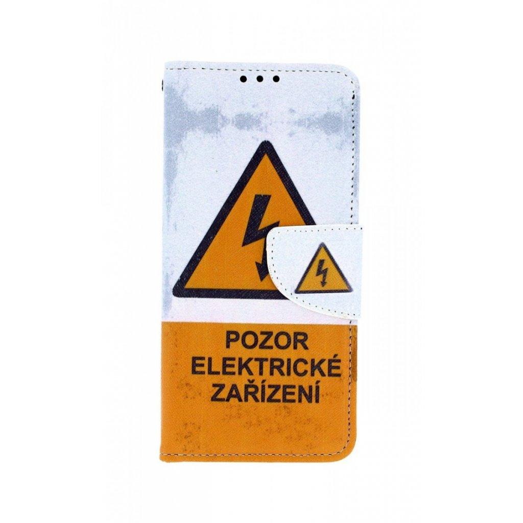 Flipové puzdro na Samsung A20e Pozor elektrické zariadenie