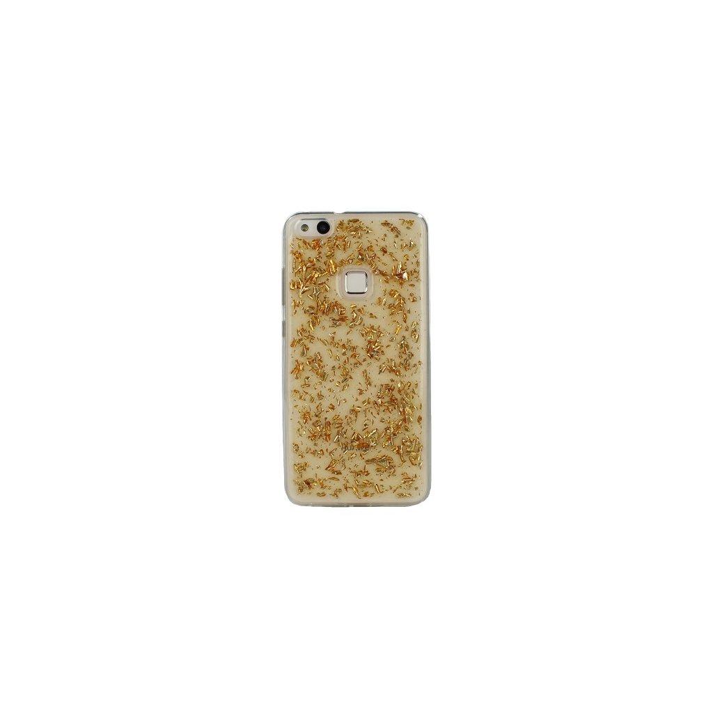 Zadný silikónový kryt na Huawei P10 Lite zlatý sa črepy