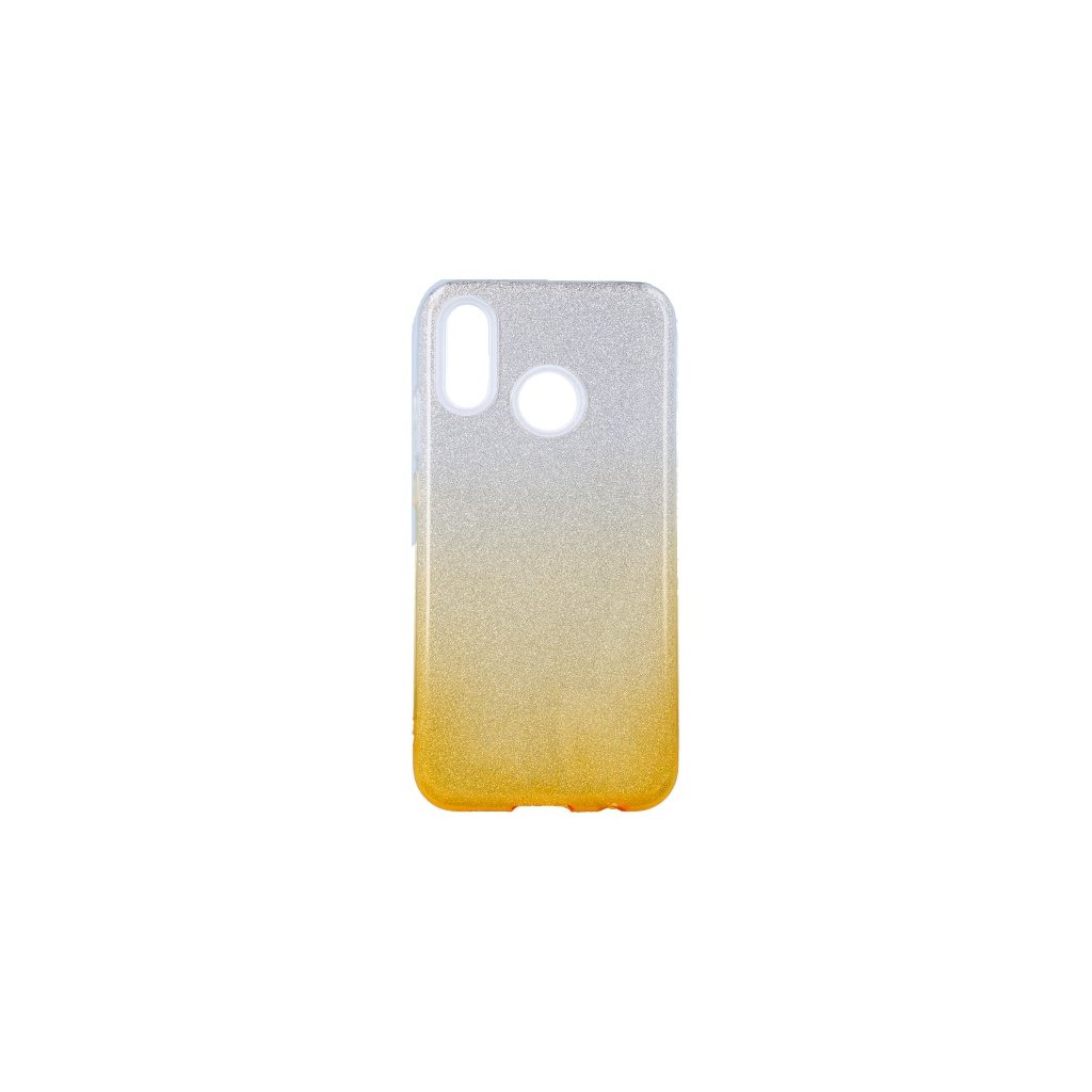Zadný pevný kryt na Huawei P20 Lite glitter strieborno-oranžový
