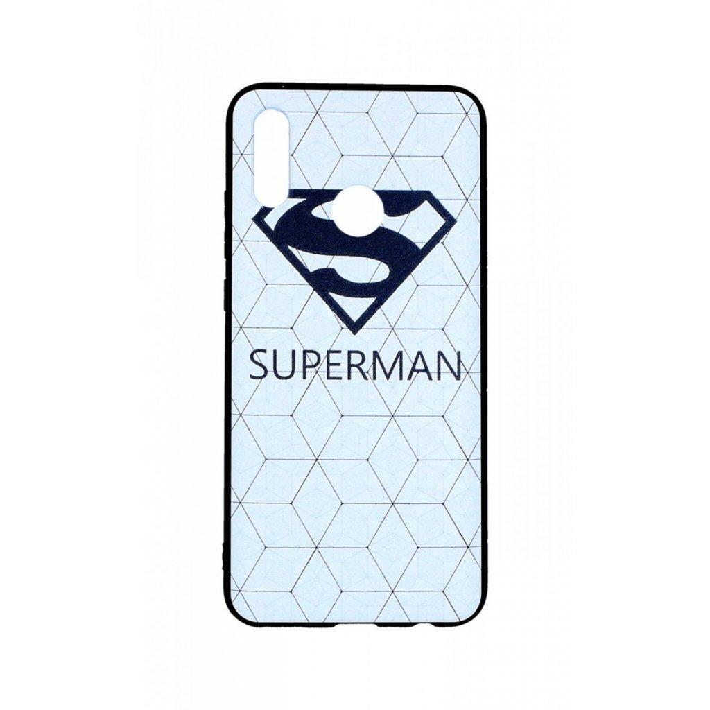 Zadný 3D silikónový kryt na Huawei P Smart 2019 Biely Superman