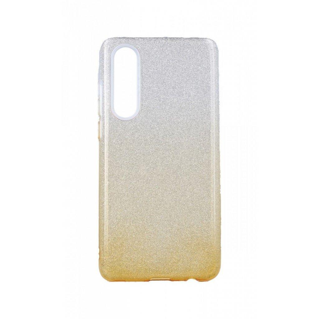 Zadný pevný kryt na Huawei P30 glitter strieborno-oranžový