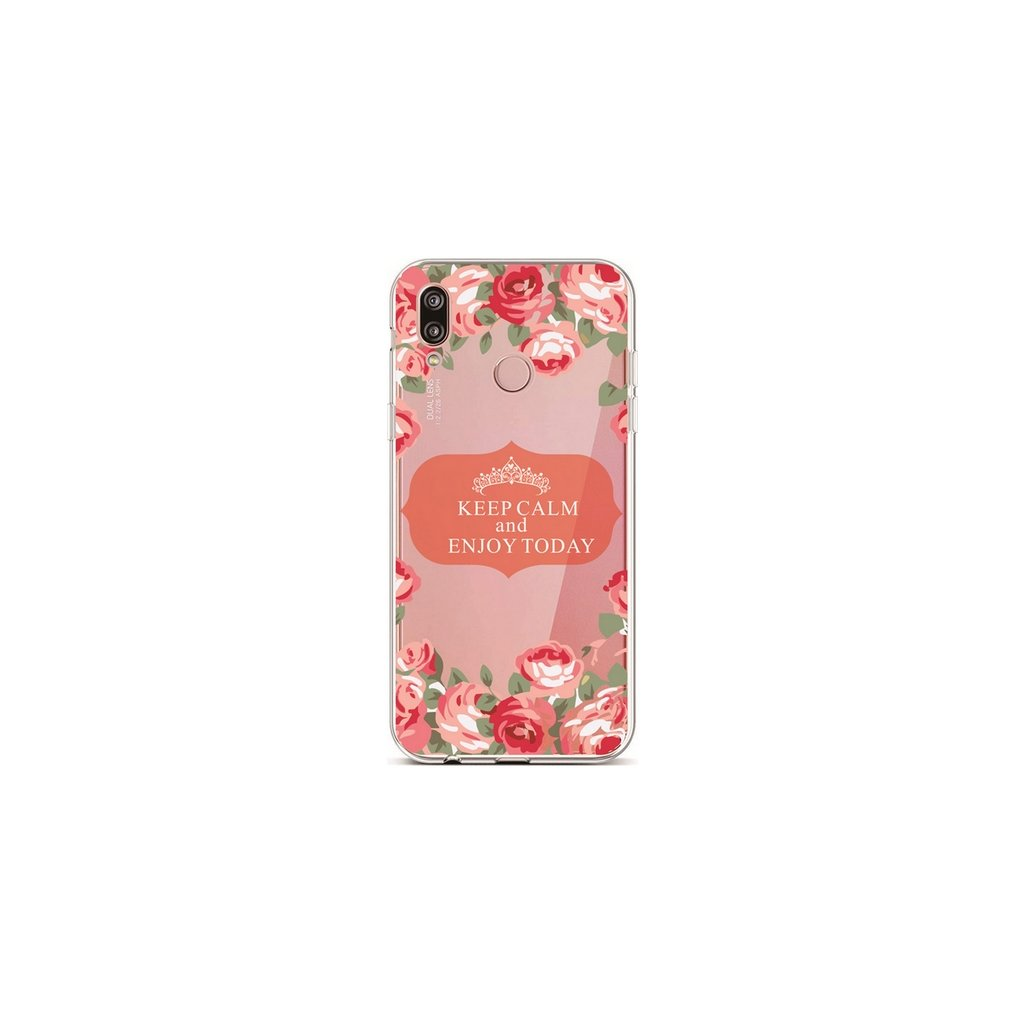 Zadný silikónový kryt na Huawei P20 Lite Keep Calm Flowers 3