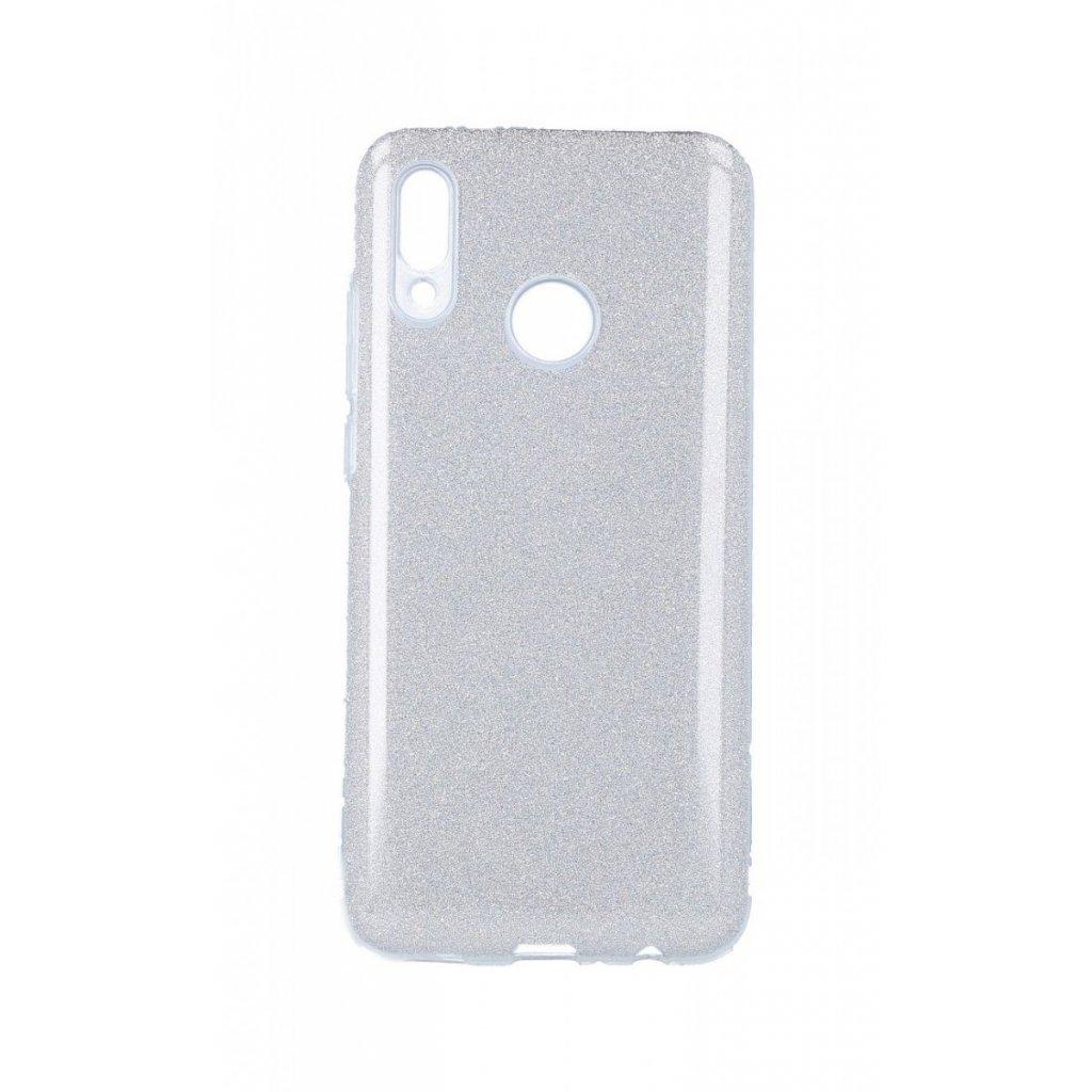 Zadný silikónový kryt na Huawei P Smart 2019 glitter strieborný