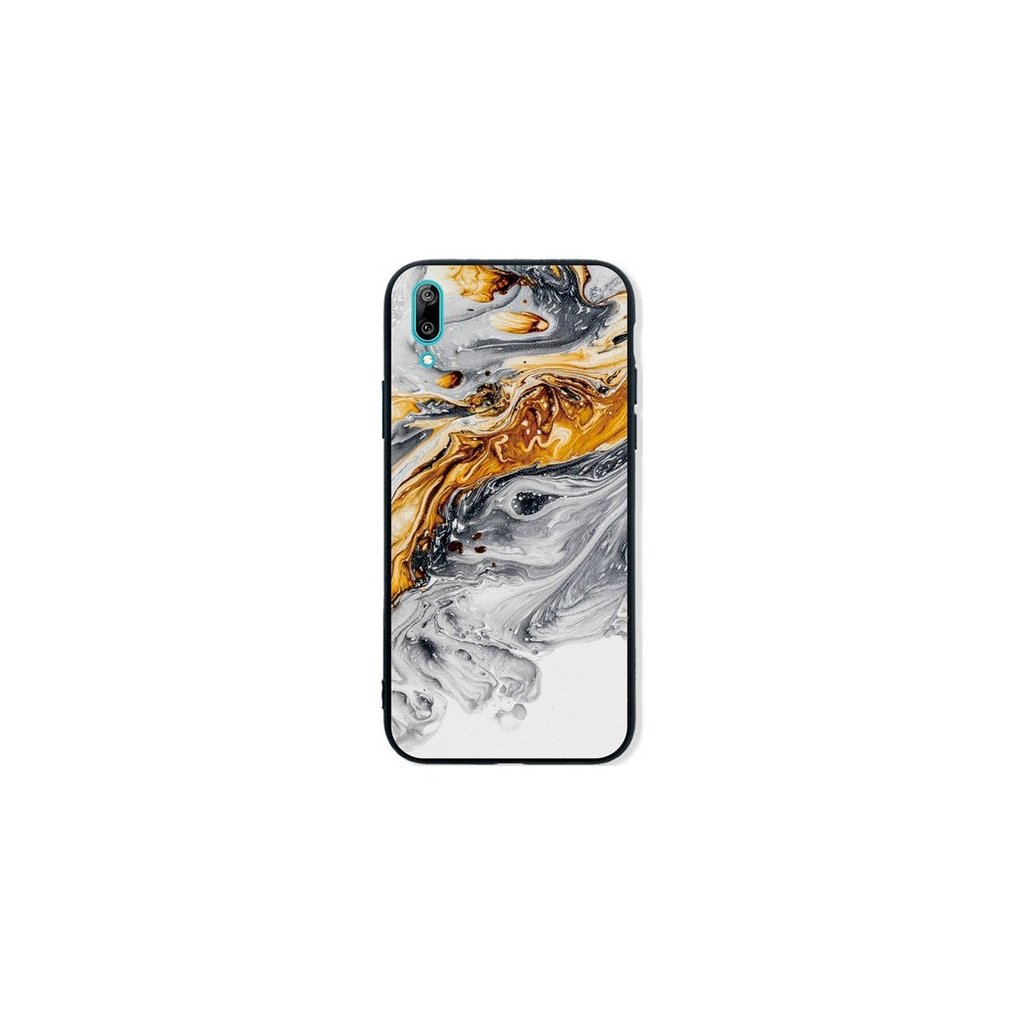 Zadný pevný kryt LUXURY na Huawei Y6 2019 Marble šedo-zlatý