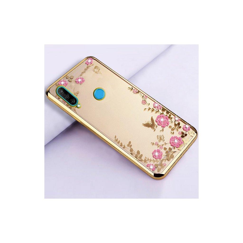 Zadný silikónový kryt na Huawei P30 Lite zlatý s ružovými kvetmi