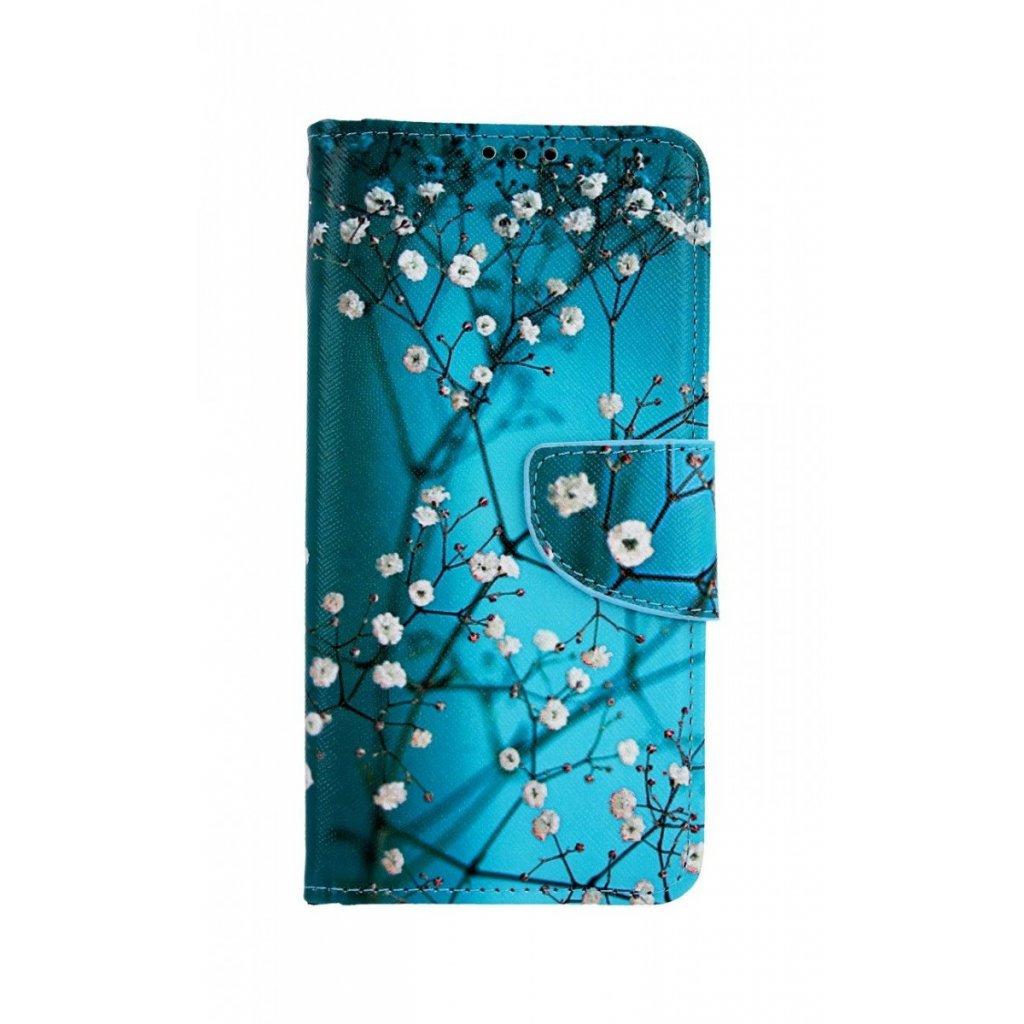 Flipové puzdro na Huawei P30 Lite Modré s kvetmi