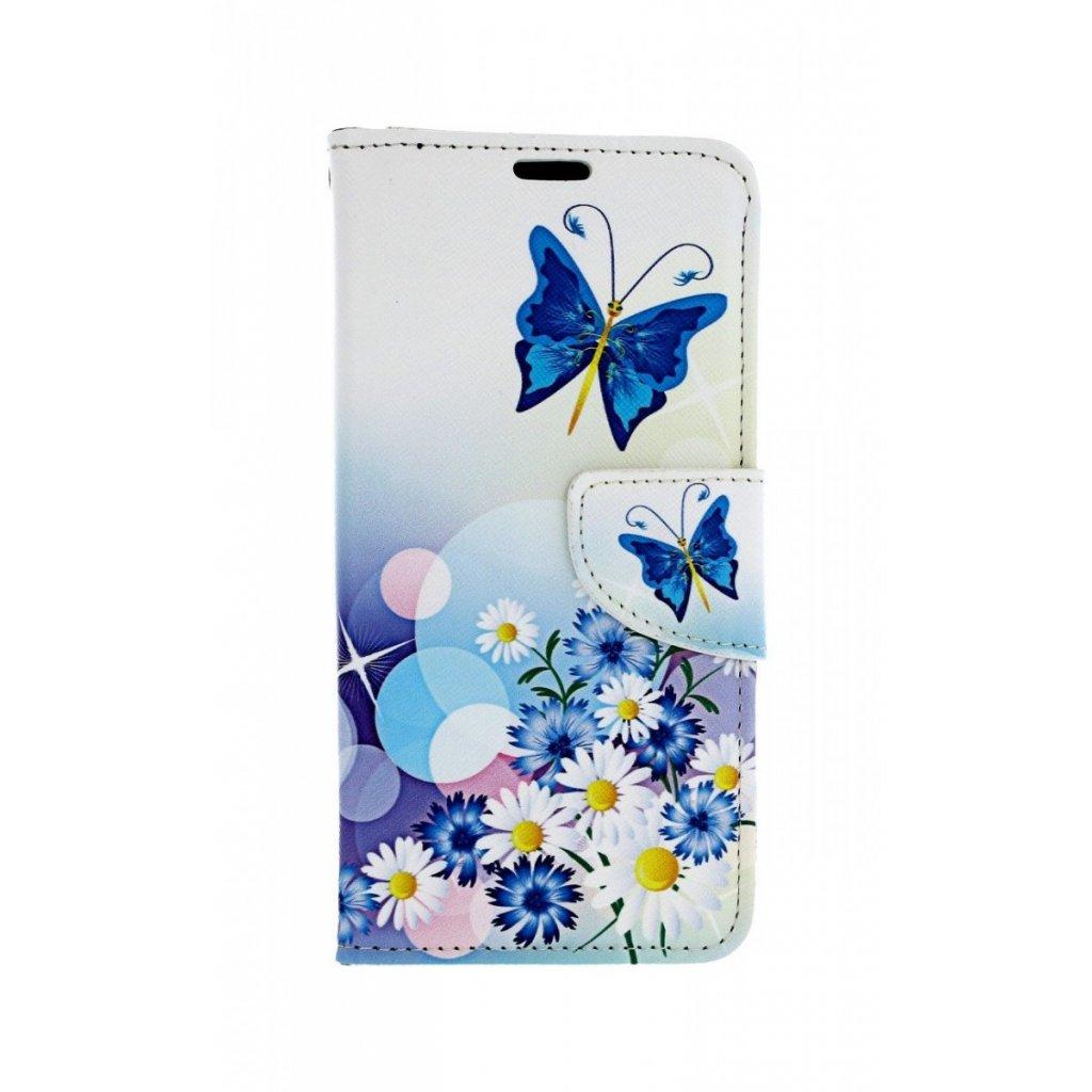 Flipové puzdro na Huawei P30 Lite Biele s motýlikom