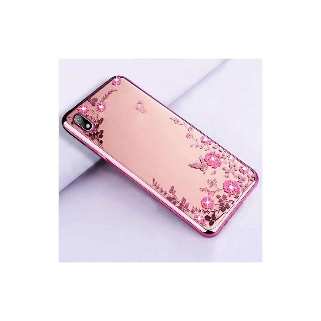 Zadný silikónový kryt na Huawei Y5 2019 ružový s ružovými kvetmi