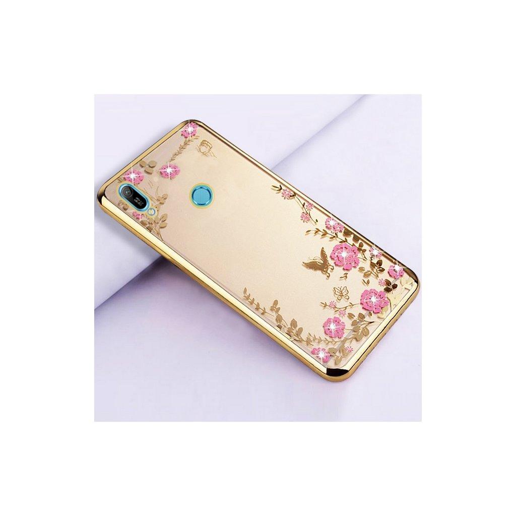 Zadný silikónový kryt na Huawei Y6 2019 zlatý s ružovými kvetmi
