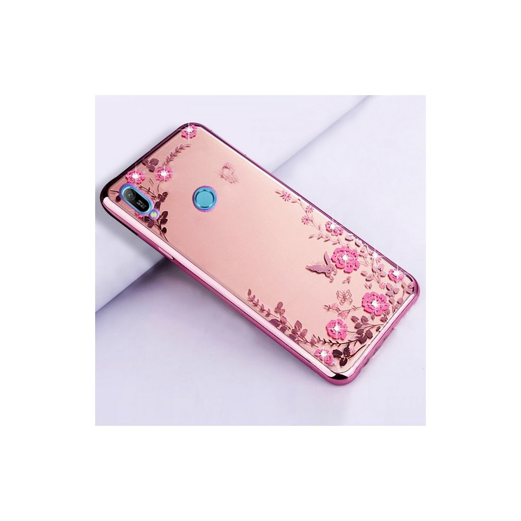 Zadný silikónový kryt na Huawei Y6 2019 ružový s ružovými kvetmi