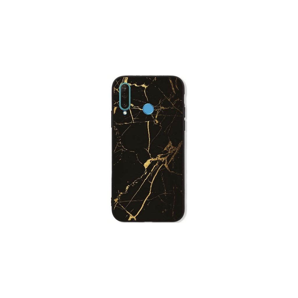 Zadný pevný kryt LUXURY na Huawei P30 Lite Marble čierno-zlatý