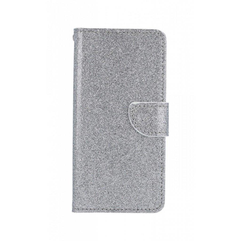 Flipové puzdro na Huawei Y5 2019 glitter strieborné