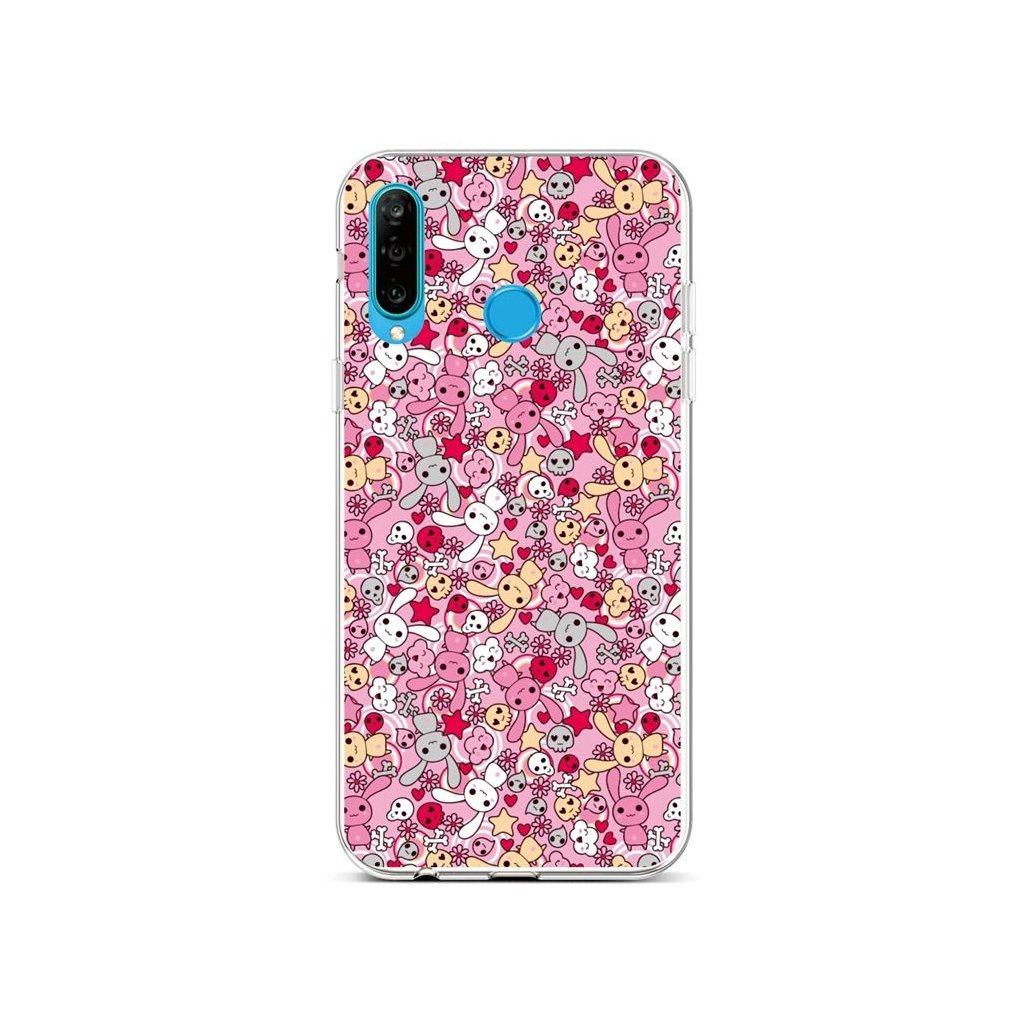 Zadný silikónový kryt na Huawei P30 Lite Pink Bunnies