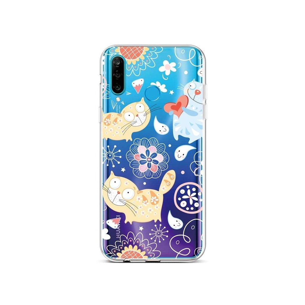 Zadný silikónový kryt na Huawei P30 Lite Happy Cats
