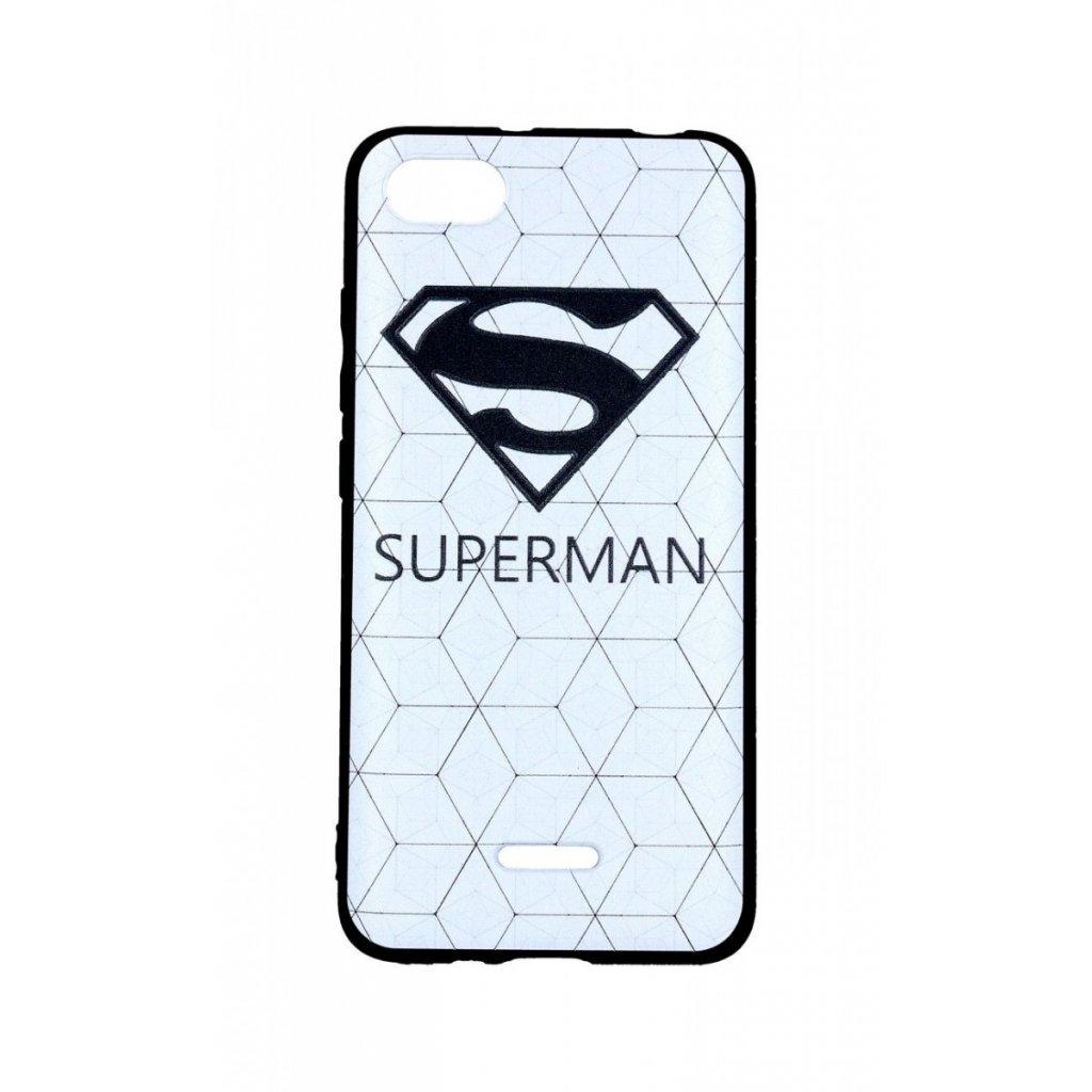 Zadný 3D silikónový kryt na Xiaomi Redmi 6A Biely Superman
