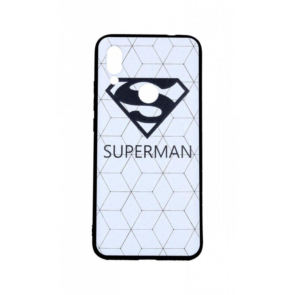 Zadný 3D silikónový kryt na Xiaomi Redmi 7 Biely Superman