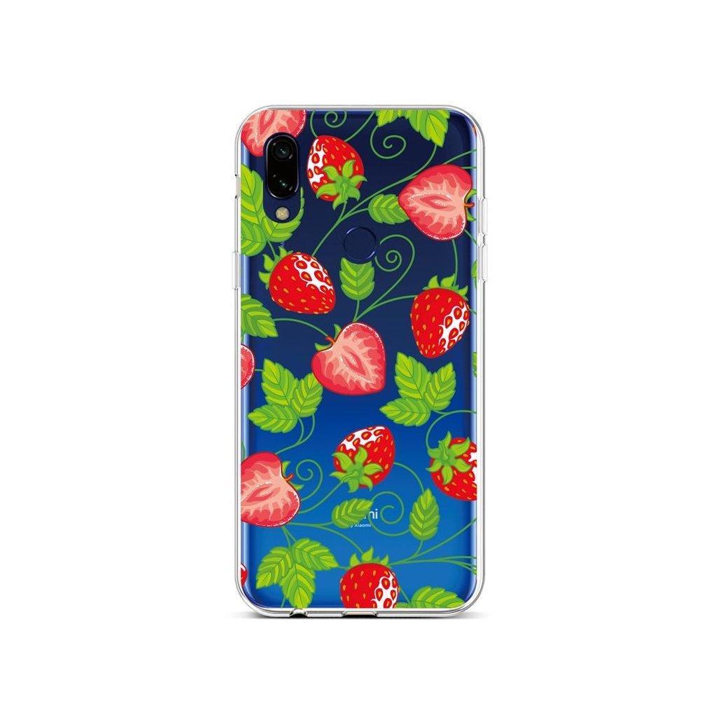 Zadný silikónový kryt na Xiaomi Redmi Note 7 Strawberries
