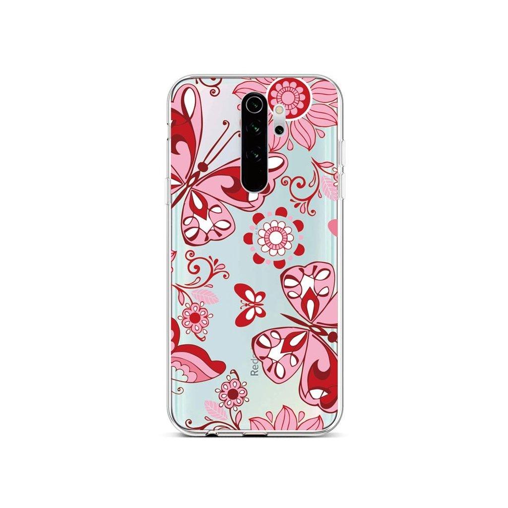 Zadný silikónový kryt na Xiaomi Redmi Note 8 Pro Pink Butterfly