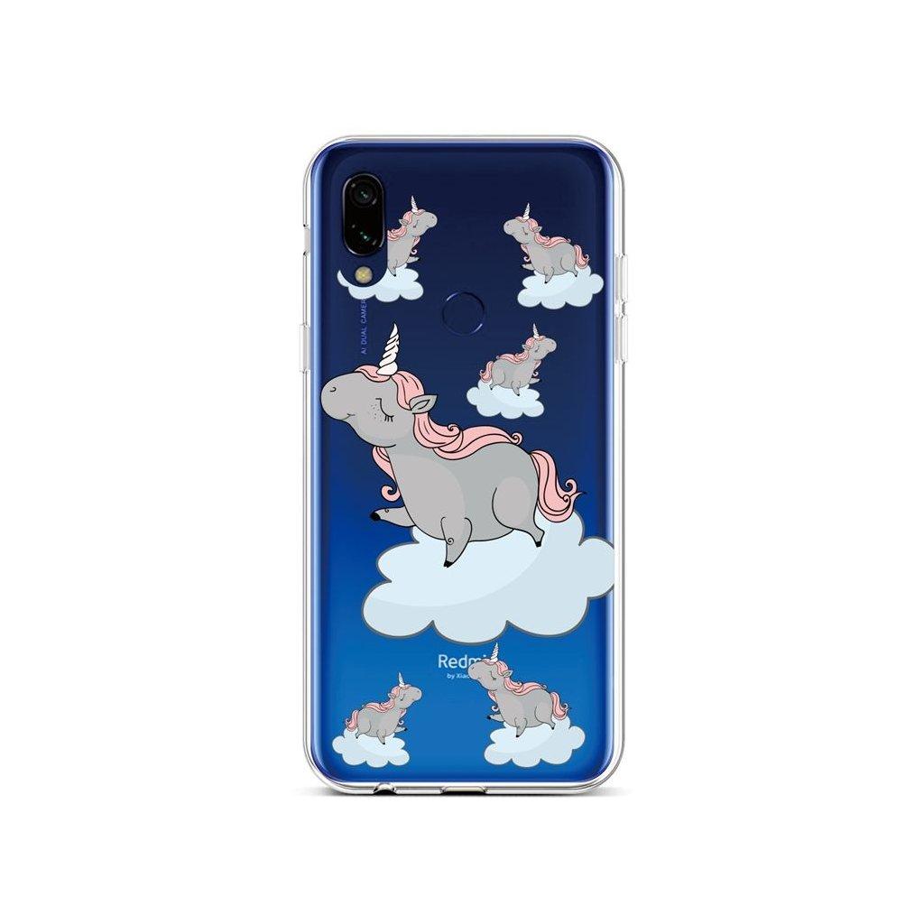 Zadný silikónový kryt na Xiaomi Redmi 7 Grey Unicorns