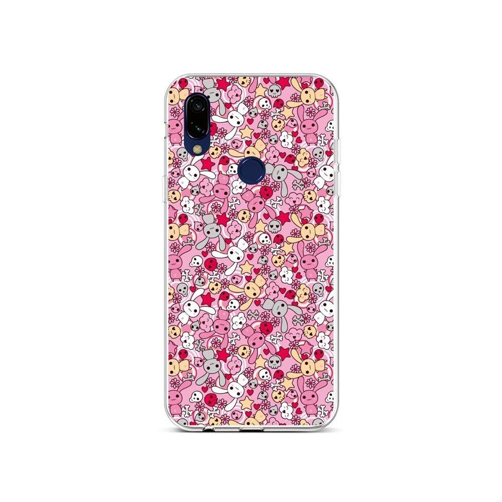 Zadný silikónový kryt na Xiaomi Redmi 7 Pink Bunnies
