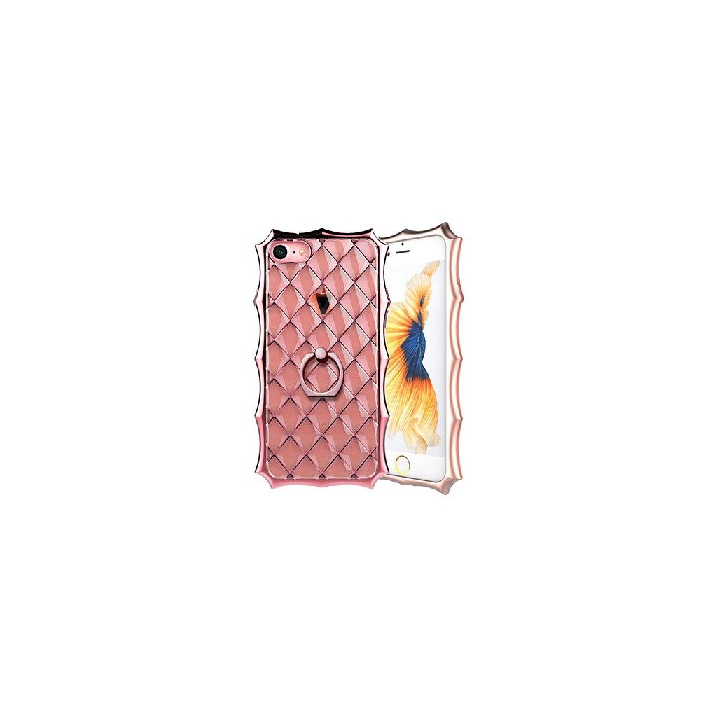 Zadný silikónový kryt na iPhone 7 Luxury Ring ružový