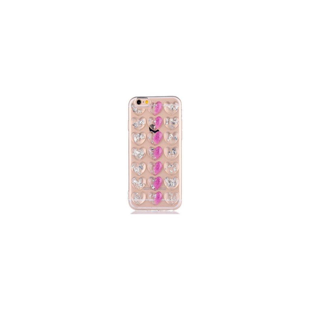 Zadný silikónový kryt na iPhone 7 3D srdce fialový