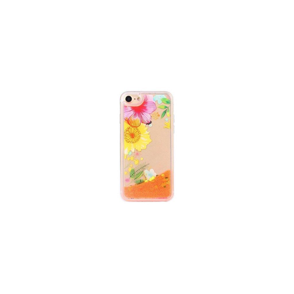 Zadný silikónový kryt na iPhone 7 presýpacie S kvetinami 2
