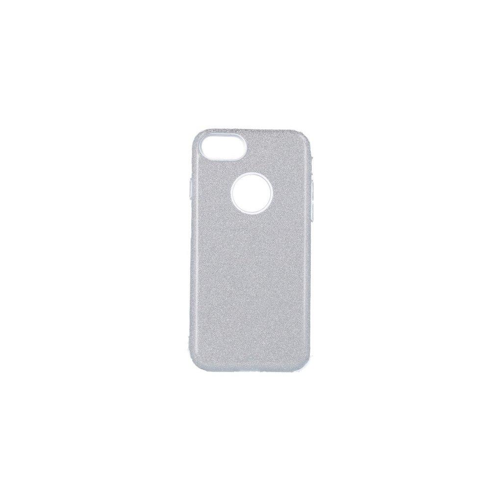 Zadný pevný kryt Forcell na iPhone 8 glitter strieborný