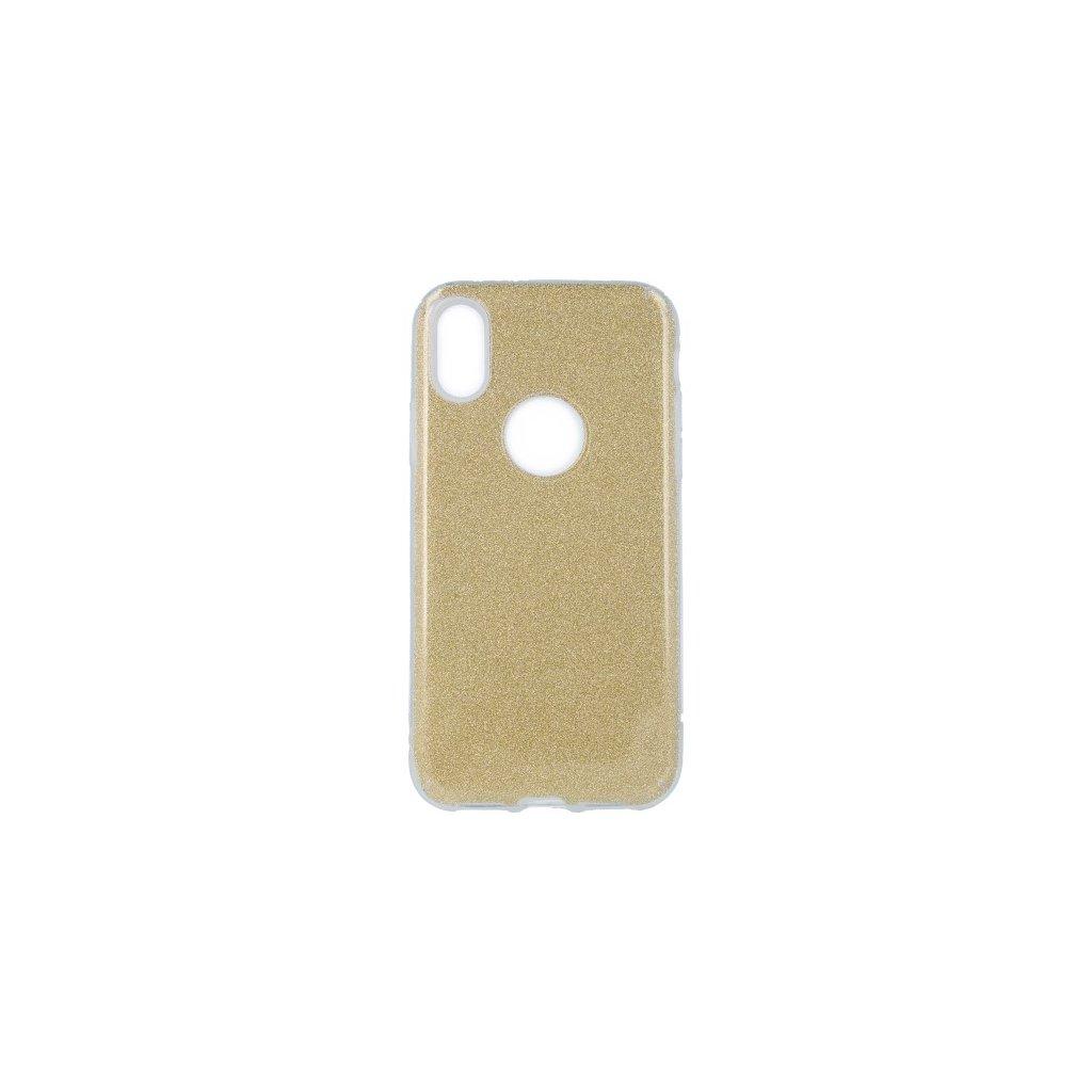Zadný pevný kryt Forcell na iPhone X glitter zlatý