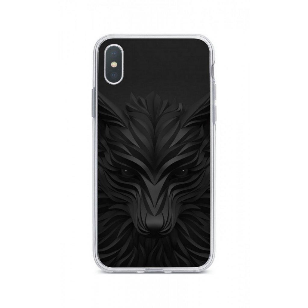 Zadný silikónový kryt na iPhone XR Čierny vlk