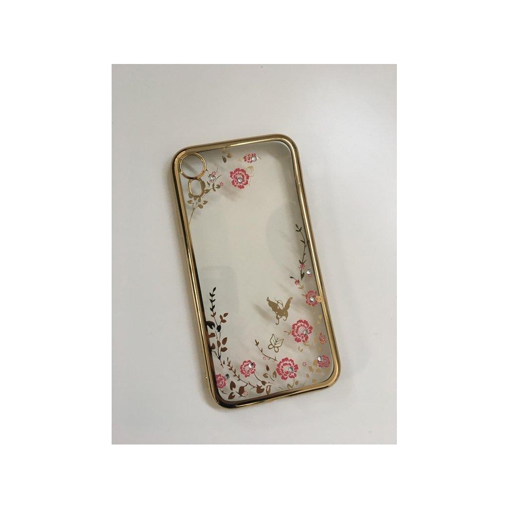Zadný silikónový kryt Forcell na iPhone XR zlatý s ružovými kvetmi
