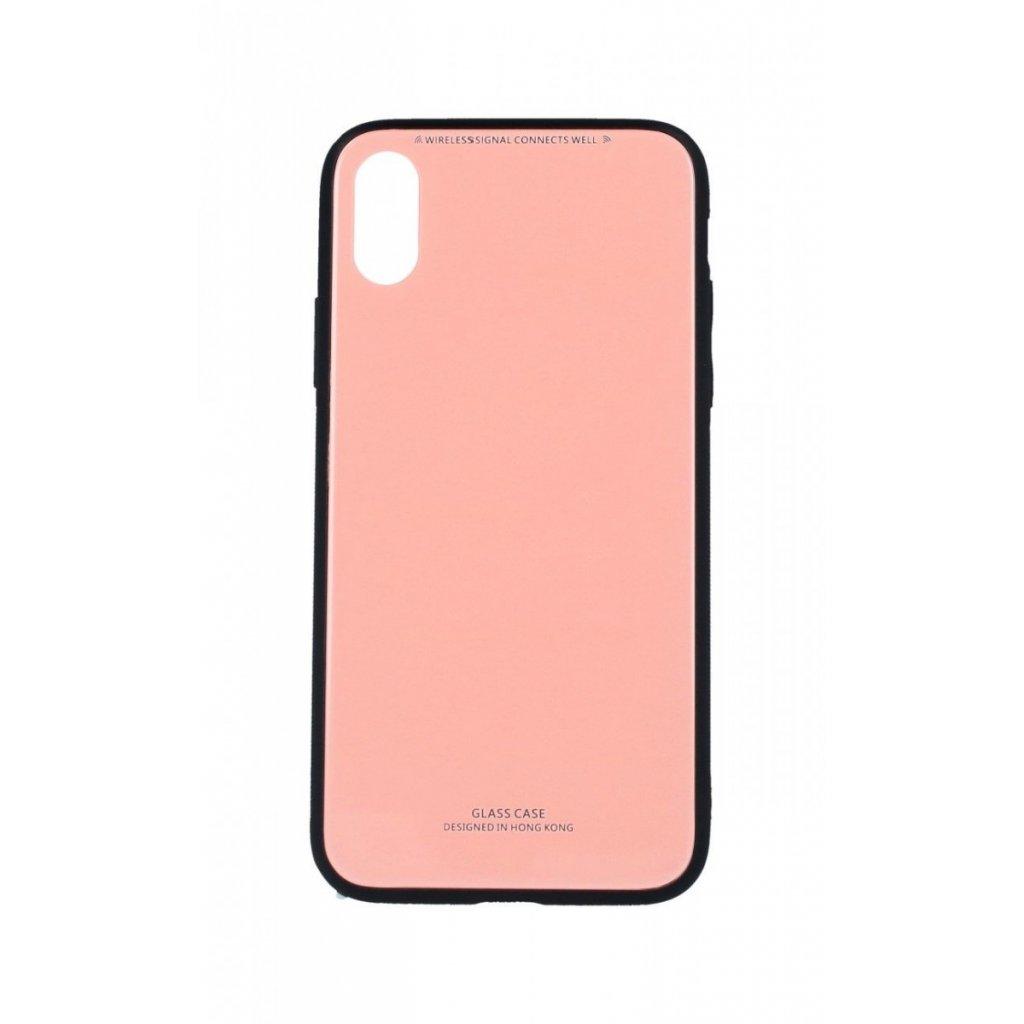 Zadný pevný kryt GLASS na iPhone XS ružový