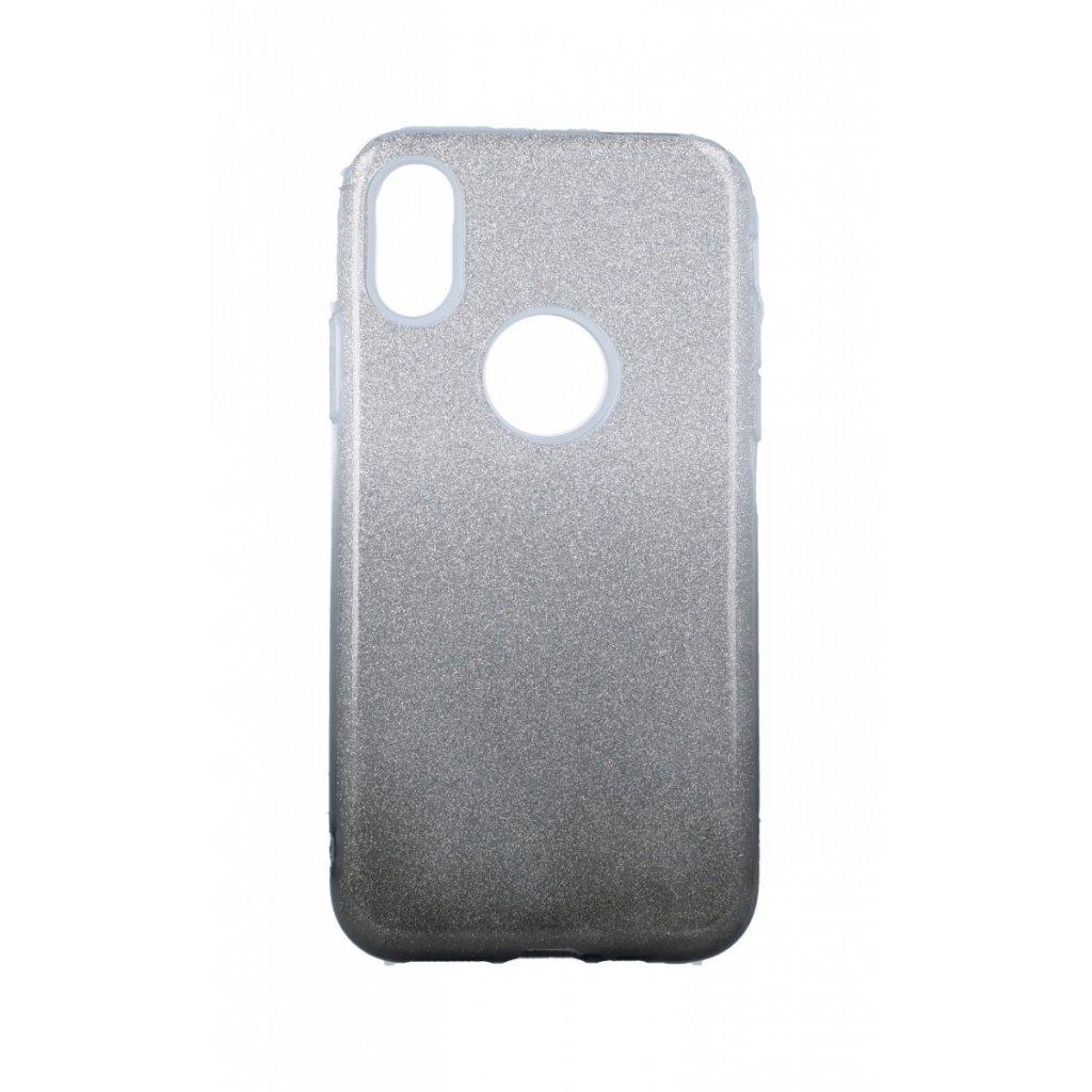 Zadný pevný kryt na iPhone XS glitter strieborno-čierny