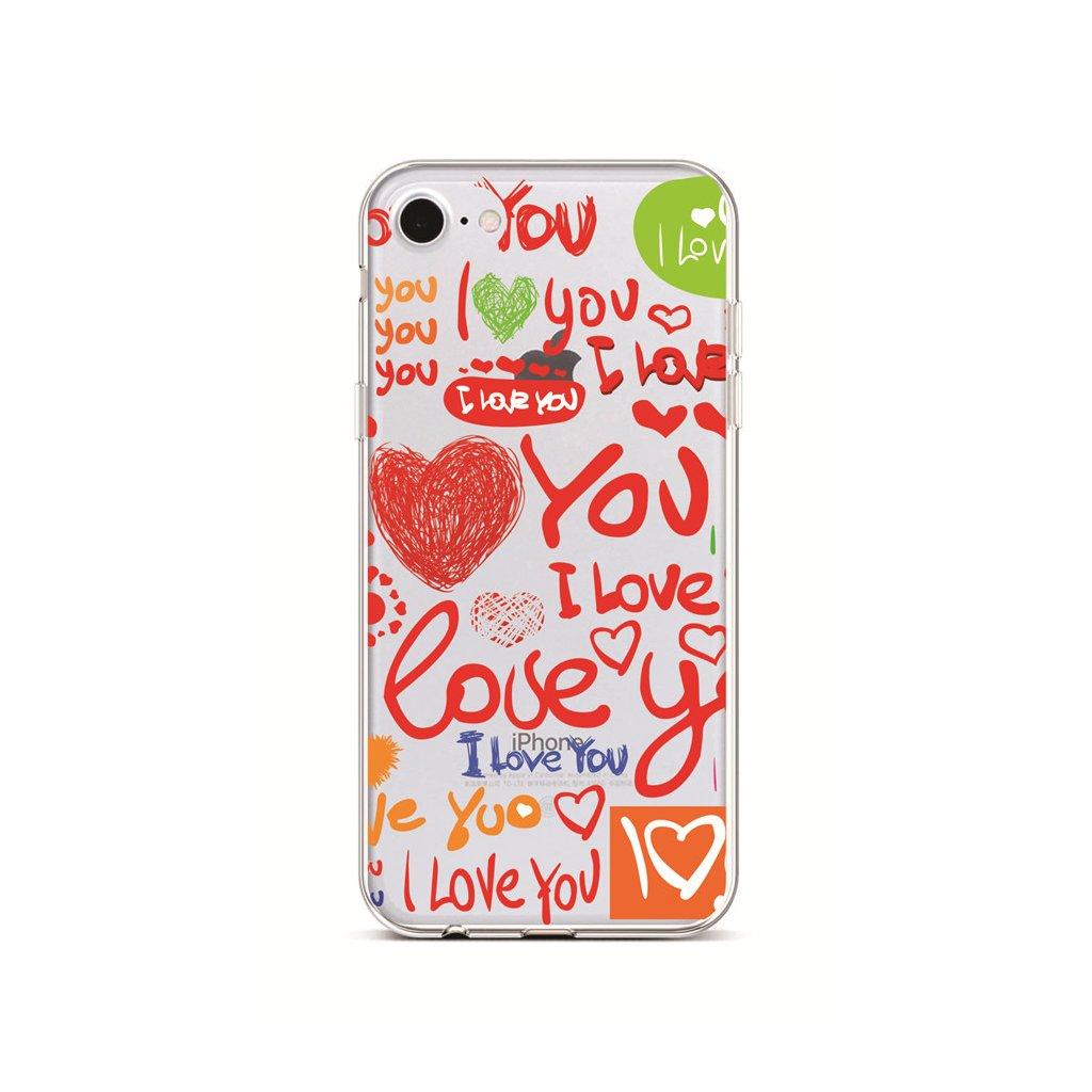 Zadný silikónový kryt na iPhone 7 Love