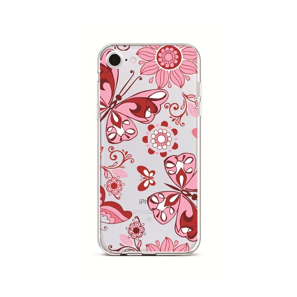 Zadný silikónový kryt na iPhone 7 Pink Butterfly