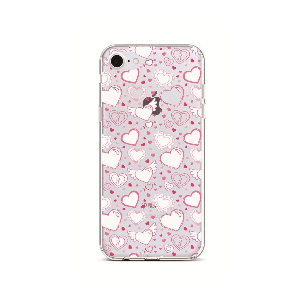 Zadný silikónový kryt na iPhone 7 Hearts