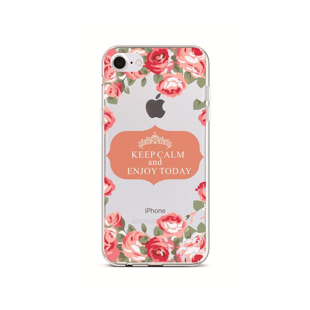 Zadný silikónový kryt na iPhone 7 Keep Calm Flowers 3
