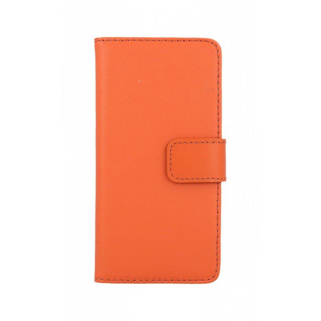 Flipové puzdro na iPhone 8 oranžové koženka