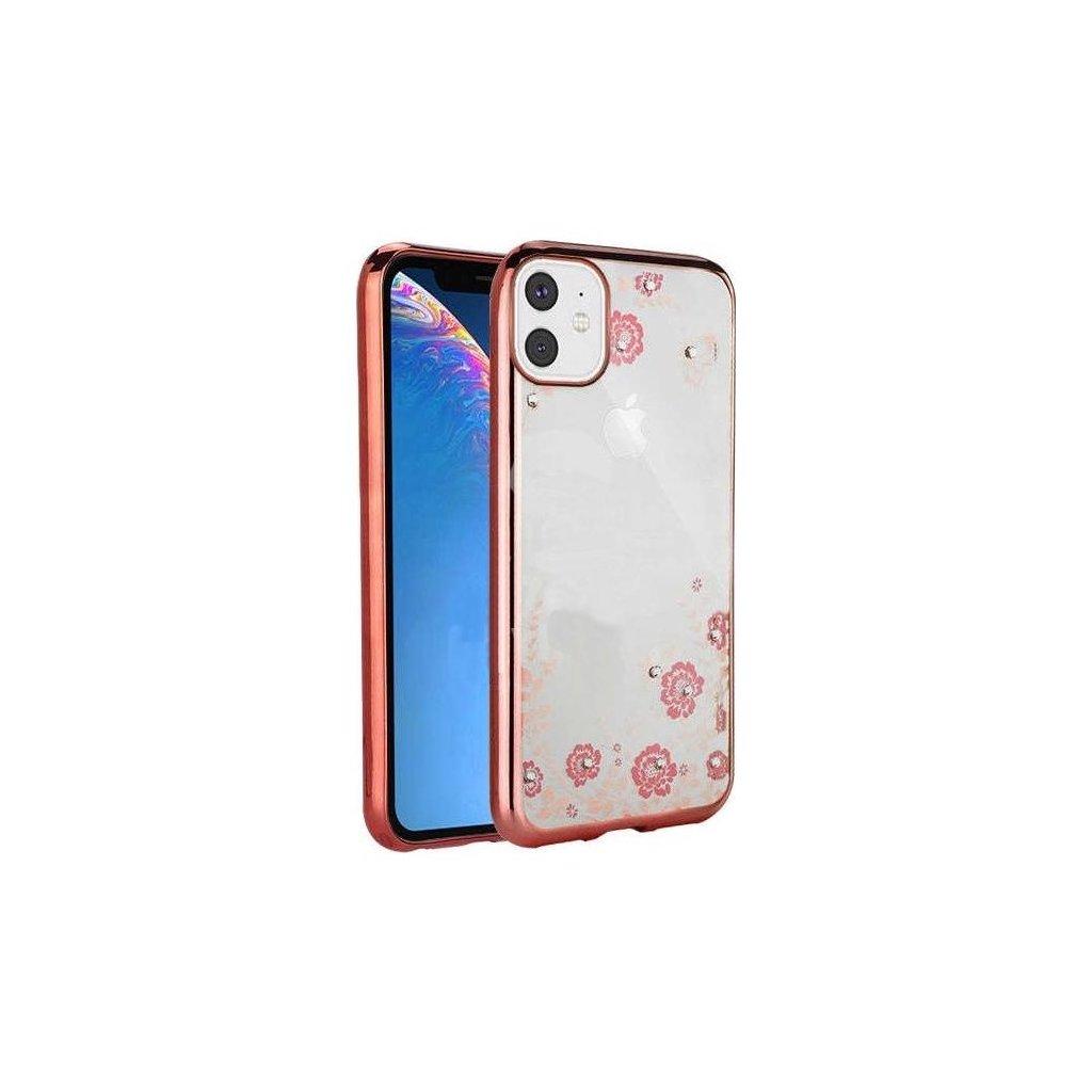 Zadný silikónový kryt ForCell na iPhone 11 ružový s ružovými kvetmi