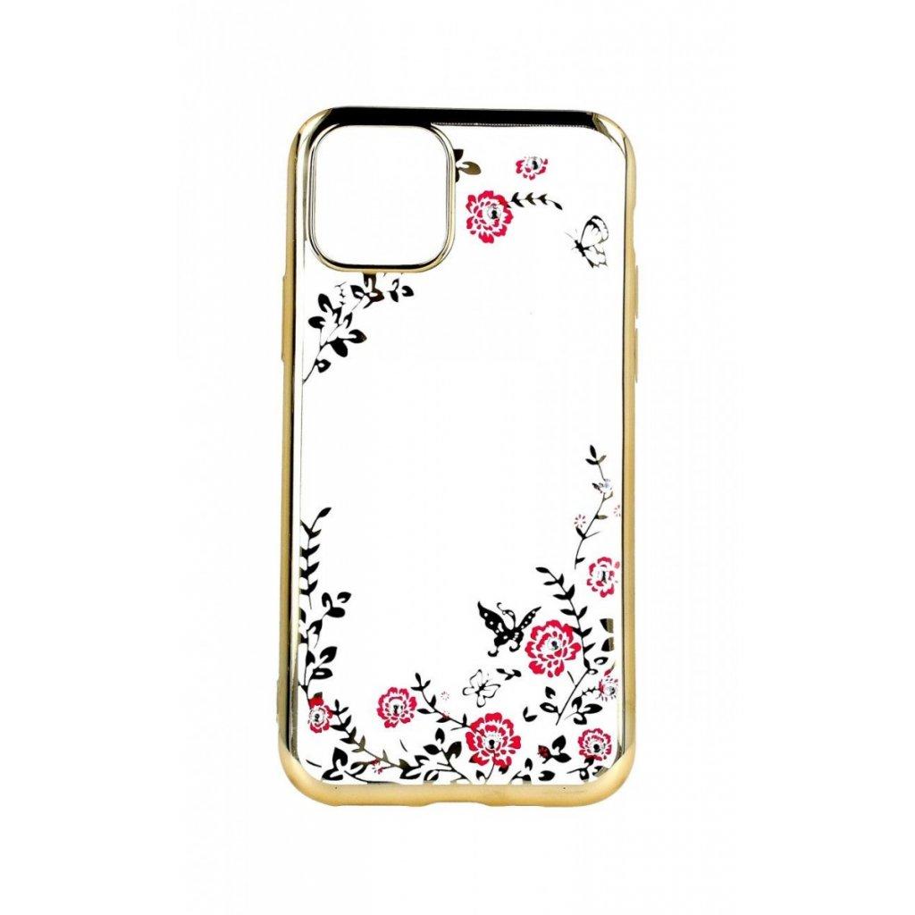 Zadný silikónový kryt Forcell na iPhone 11 Pro zlatý s ružovými kvetmi