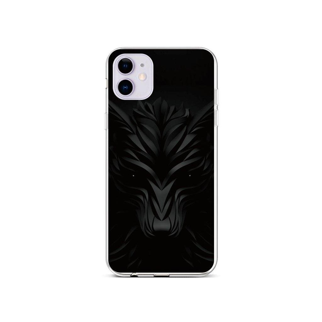 Zadný silikónový kryt na iPhone 11 Čierny vlk