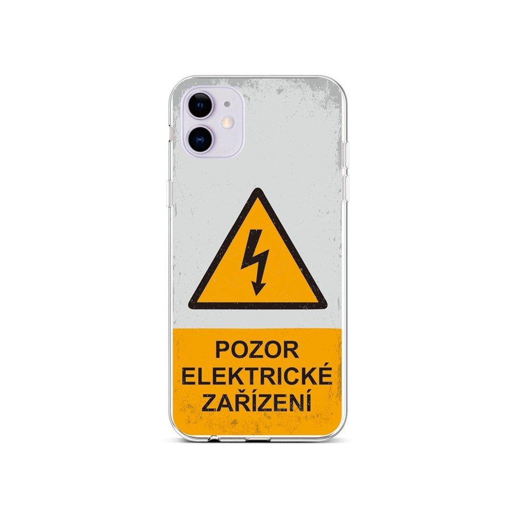 Zadný silikónový kryt na iPhone 11 Pozor elektrické zariadenie