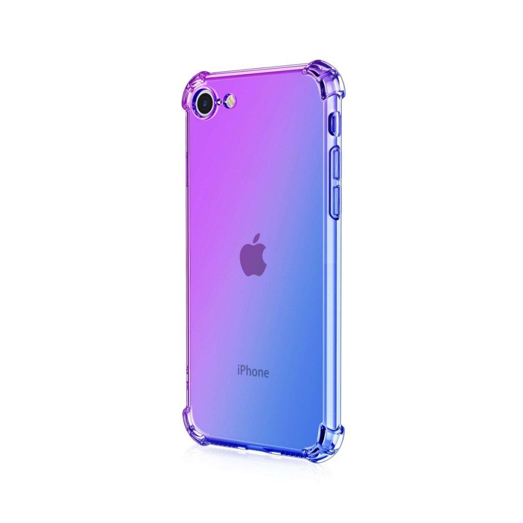 Zadný silikónový kryt na iPhone SE 2020 Shock dúhový fialovo-modrý