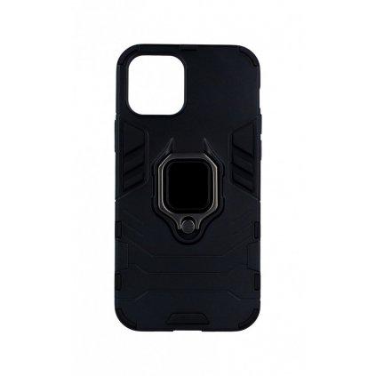 Ultra odolný zadný kryt na iPhone 12 Pro čierny s prsteňom