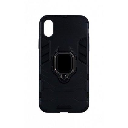Ultra odolný zadný kryt na iPhone X čierny s prsteňom