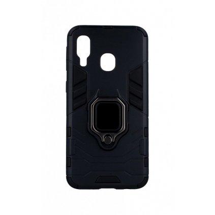 Ultra odolný zadný kryt na Samsung A40 čierny s prsteňom