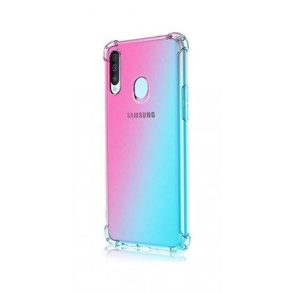 Zadný silikónový kryt na Samsung A20s Shock dúhový mentolovo-ružový