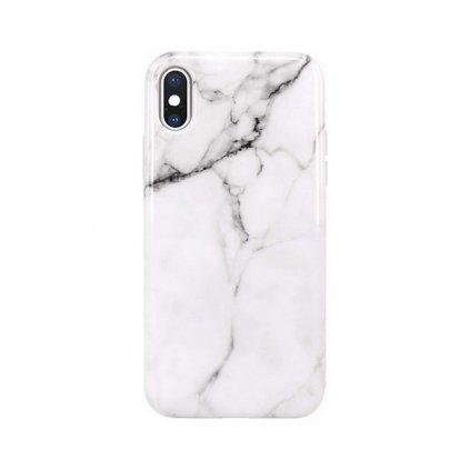 Zadný silikónový kryt na iPhone XS Mramor biely