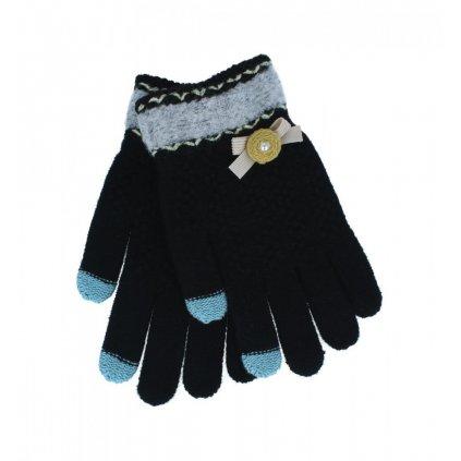 Dotykové rukavice pre mobilný telefón Mašlička čierne veľ. S